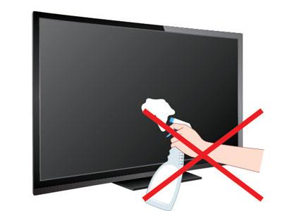 Phun dung dịch tẩy rửa trực tiếp lên màn hình