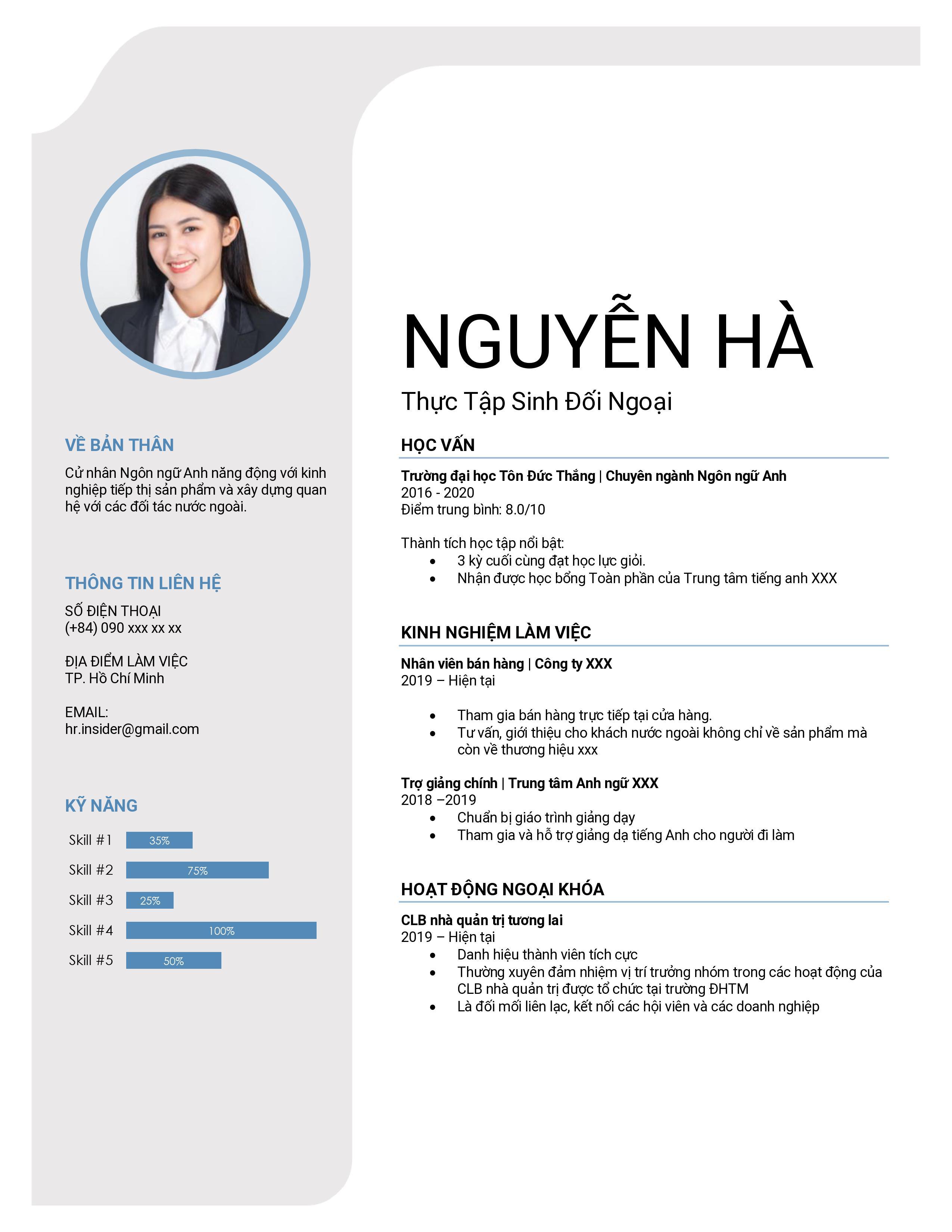 Mẫu CV xin việc đơn giản