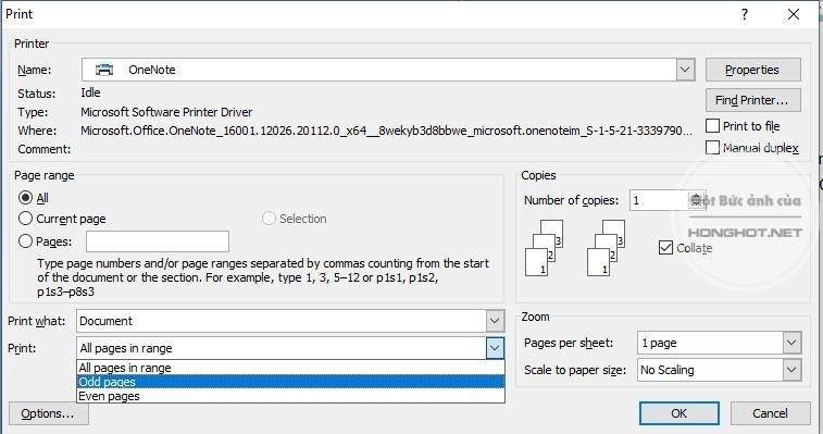 Cách in trang chẵn lẻ trong Excel