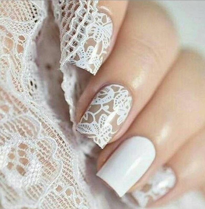 Mẫu móng tay cô dâu đơn giản
