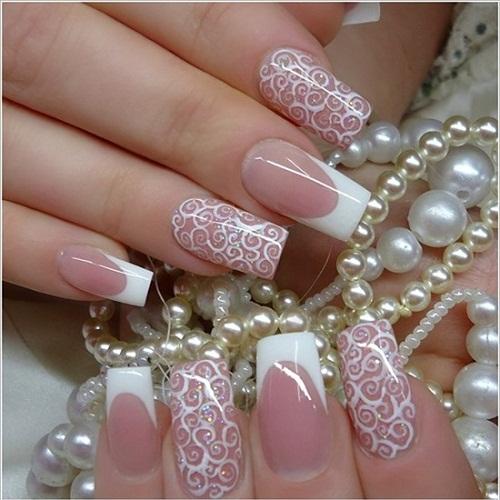 Mẫu nail đẹp nhẹ nhàng cho cô dâu
