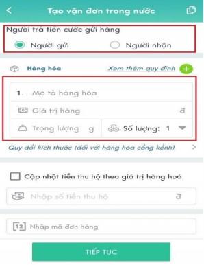Tạo vận đơn gửi hàng ViettelPost