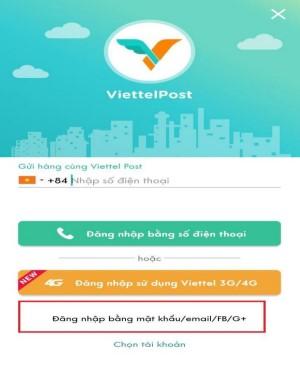Đăng ký app ViettelPost bằng email, Facebook...