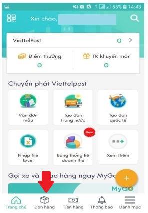 Kiểm tra đơn hàng trên app ViettelPost