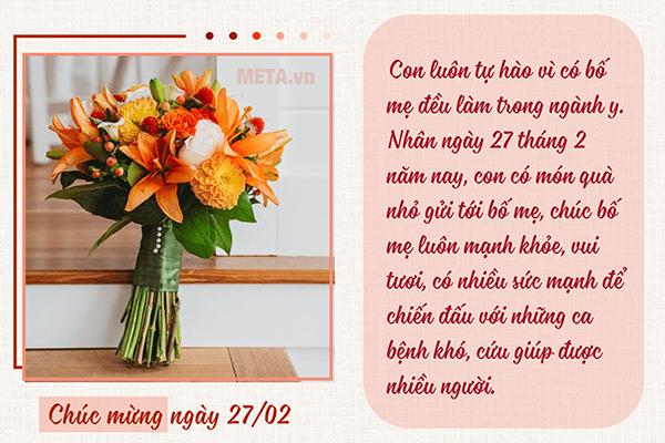 Hoa đẹp chúc mừng ngày 27 tháng 2 - ngày Thầy thuốc Việt Nam