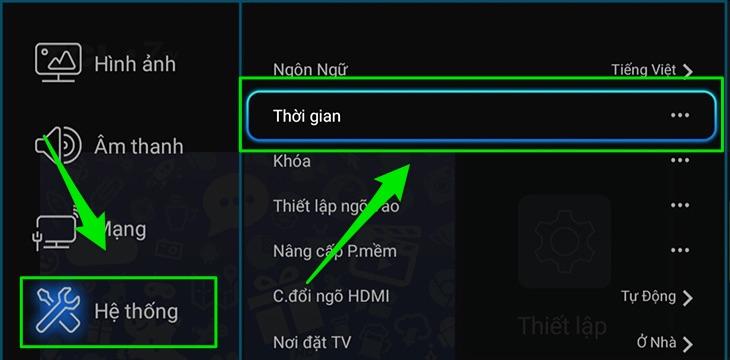 Cách chỉnh lại ngày giờ trên tivi TCL