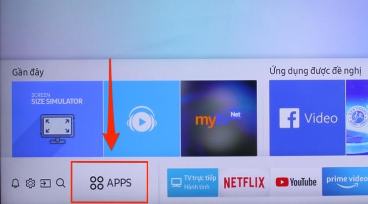 """Nhấn tìm và chọn mục """"Apps"""""""