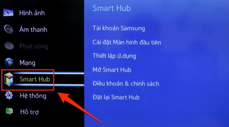 """Nhấn chọn """"Smart Hub"""""""