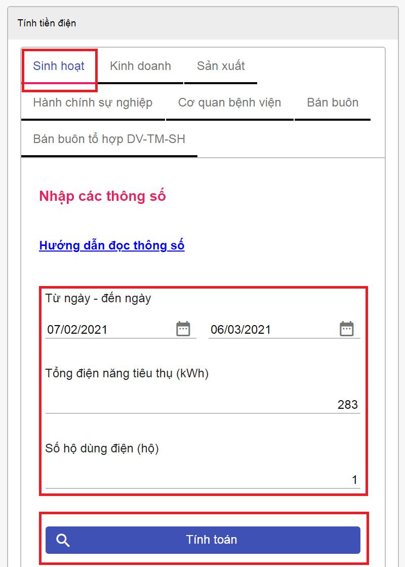Nhập các thông số theo yêu cầu để tính tiền điện.