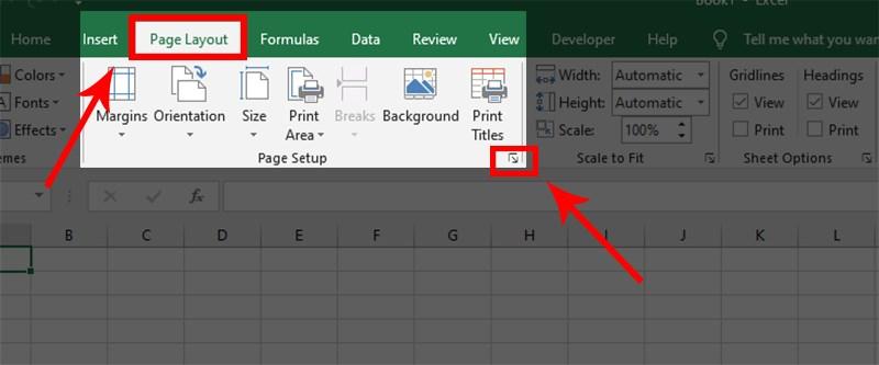 Cách đánh số trang trong Excel bằng Page Setup