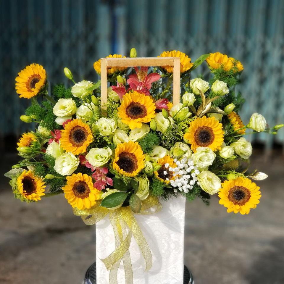 Giỏ hoa hướng dương đẹp