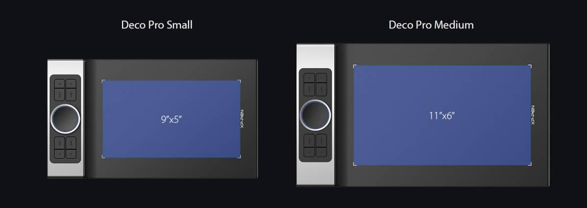 XP-Pen Deco Pro Small và XP-Pen Deco Pro Medium khác nhau kích thước vùng vẽ