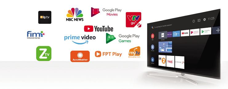 Tivi Casper 32 inches được cài đặt nhiều ứng dụng phổ biến