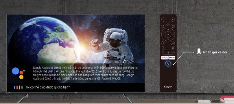Tivi Casper 50 inches có tính năng điều khiển bằng giọng nói