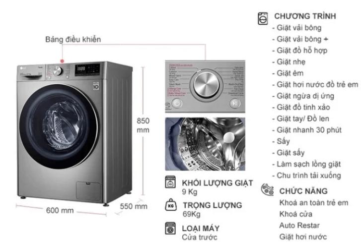 Bảng điều khiển máy giặt sấy LG Inverter 9 kg FV1409G4V