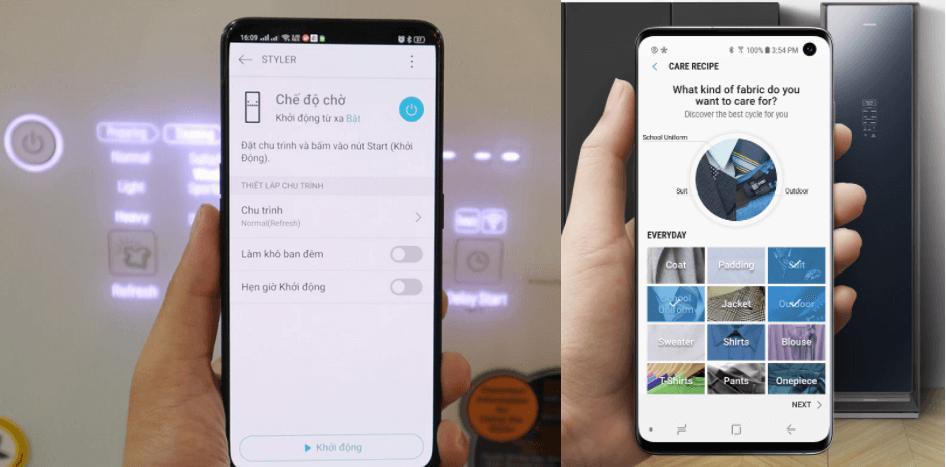 Tủ chăm sóc quần áo LG và tủ chăm sóc quần áo Samsung điều khiển từ xa bằng smartphone