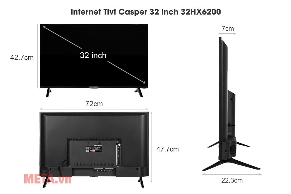 Kích thước Internet Tivi Casper 32 inch 32HX6200