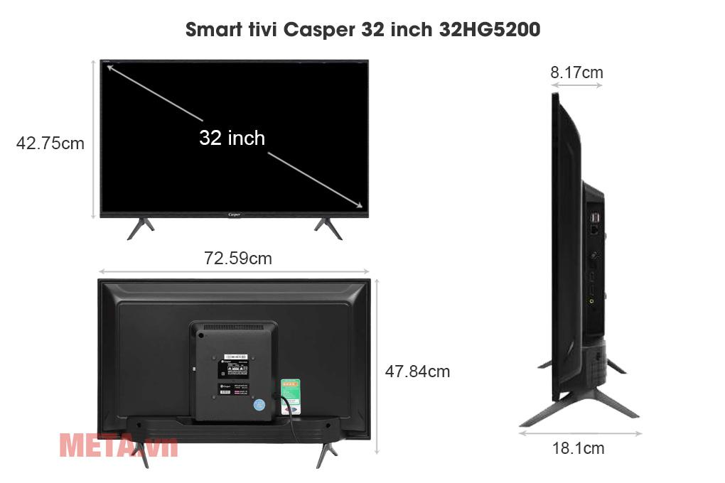Kích thước Smart tivi Casper 32 inch 32HG5200