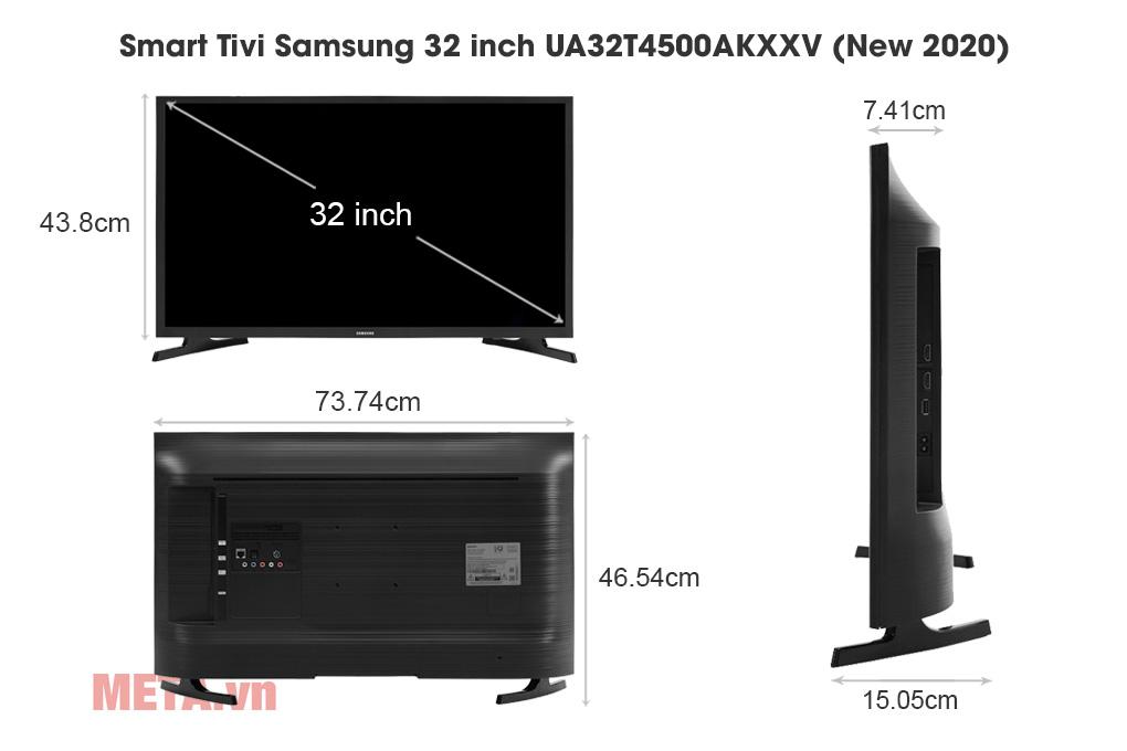 Kích thước Smart Tivi Samsung 32 inch UA32T4500AKXXV (New 2020)
