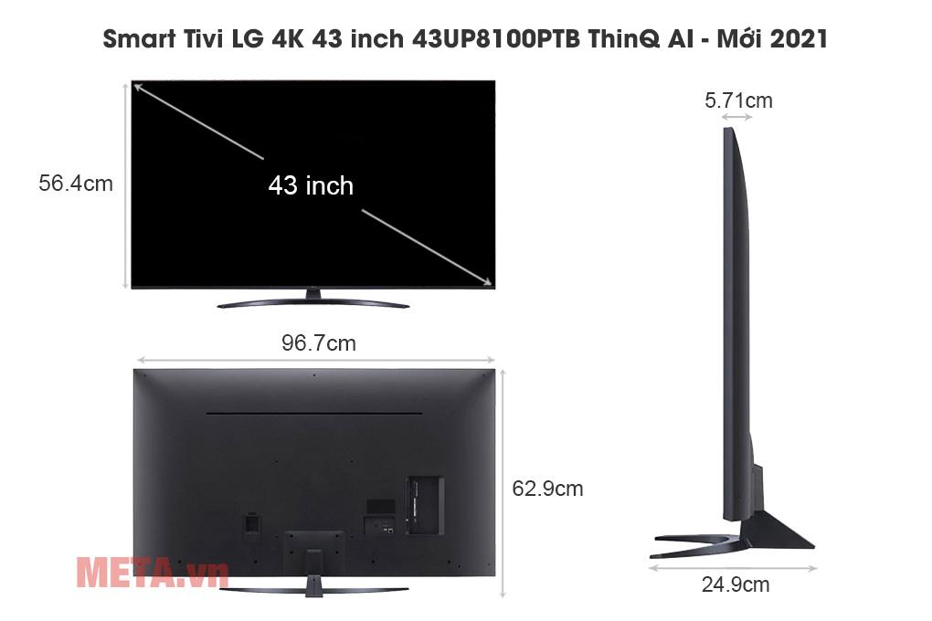 Kích thước Smart Tivi LG 4K 43 inch 43UP8100PTB ThinQ AI - Mới 2021