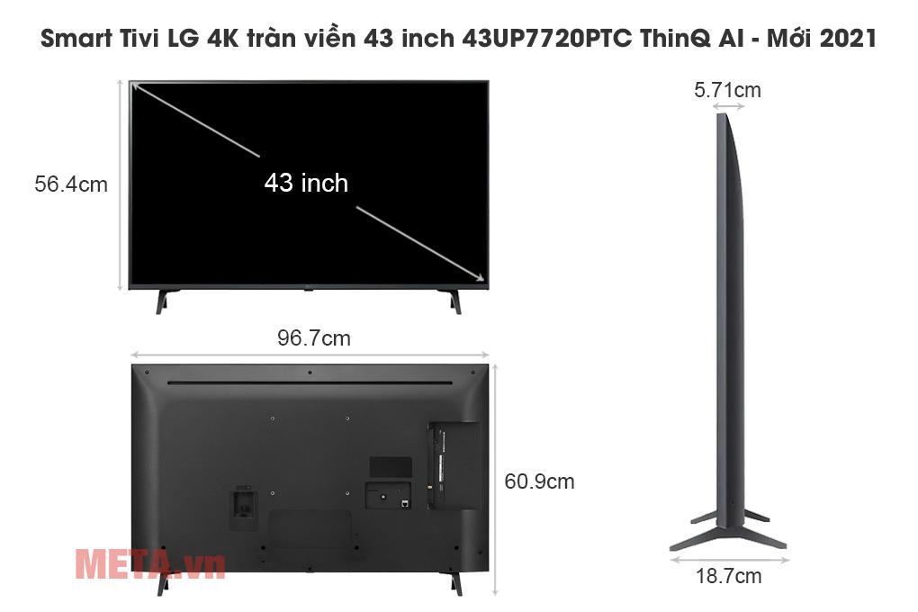 Kích thước Smart Tivi LG 4K tràn viền 43 inch 43UP7720PTC ThinQ AI - Mới 2021