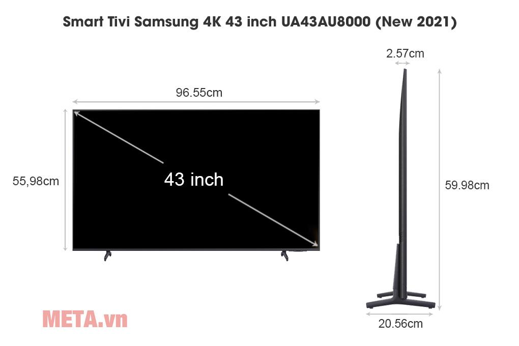 Kích thước Smart Tivi Samsung 4K 43 inch UA43AU8000 (New 2021)