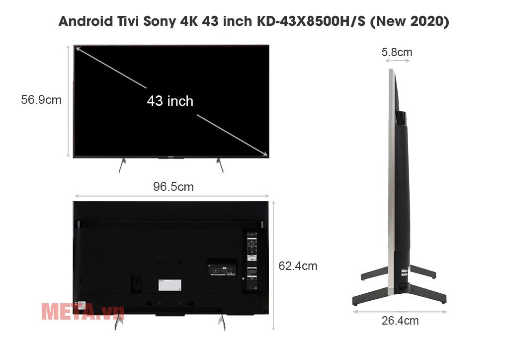 Kích thước Android Tivi Sony 4K 43 inch KD-43X8500H/S (New 2020)