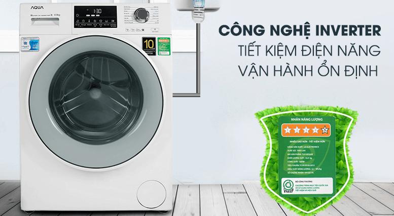 Máy giặt lồng ngang Aqua Inverter 8,5kg AQD-D850E.W sử dụng công nghệ tiết kiệm điện