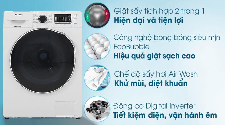 Máy giặt sấy khô Samsung ứng dụng nhiều công nghệ hiện đại