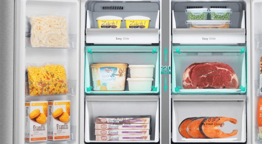 Ngăn chứa của tủ lạnh thạch sanh Casper trong suốt