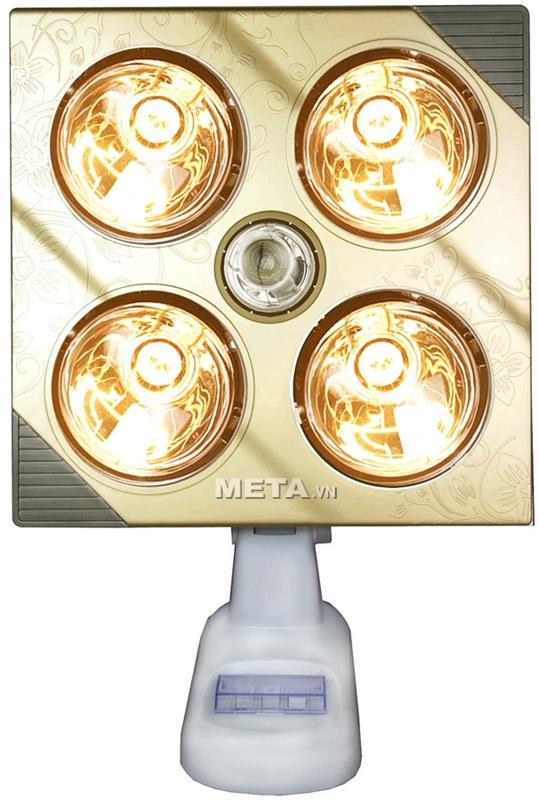 Đèn sưởi nhà tắm Kottmann 4 bóng K4B-G sử dụng 4 bóng hồng ngoại, màu vàng tráng kim cương nhân tạo có tác dụng tăng độ ấm và giảm chói mắt khi sử dụng