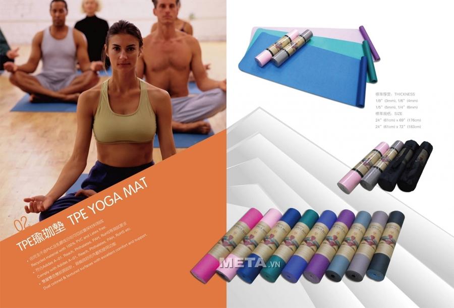 Luyện tập Yoga với thảm tập Yoga TPE Pro-01 sẽ giúp cho mọi người, đặc biệt là phụ nữ có được một cơ thể cân đối, sức khỏe bền bỉ cũng như tinh thần thoải mái bởi những tính năng nổi bật của chiếc thảm.