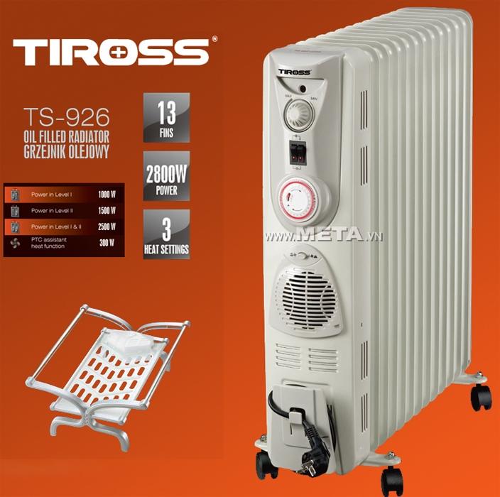 Máy sưởi dầu Tiross 13 thanh TS-926 đi kèm giúp mùa đông luôn ấm áp.