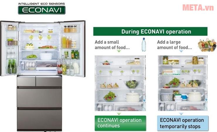 Thiết kế cảm biến ECONAVI của tủ lạnh side by side Panasonic NR-F610GT-X2.