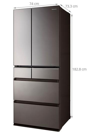 Kích thước của tủ lạnh side by side Panasonic NR-F610GT-X2.