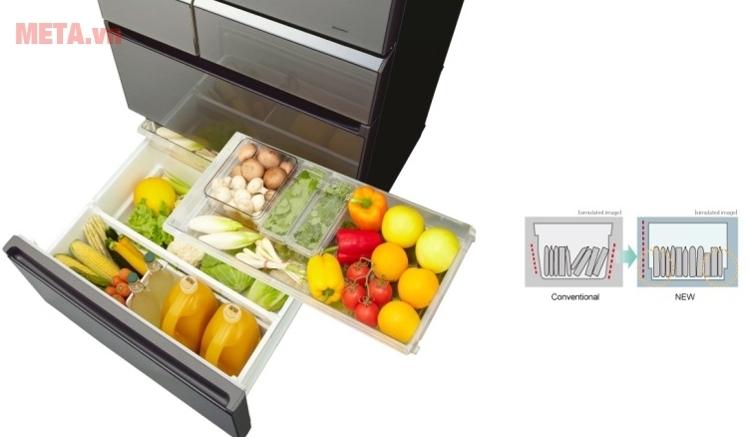 Tủ lạnh side by side Panasonic NR-F610GT-X2 giúp khử mùi của thực phẩm hiệu quả.