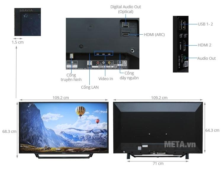 Cấu tạo cơ bản của tivi Sony 48W650D.