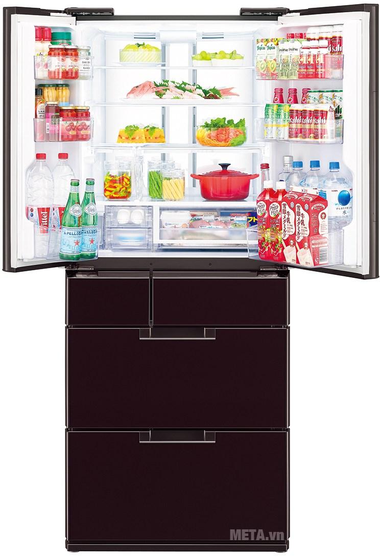 Tủ lạnh side by side 601 lít Sharp SJ-GF60A-R/T với hệ thống đèn LED chiếu sáng.