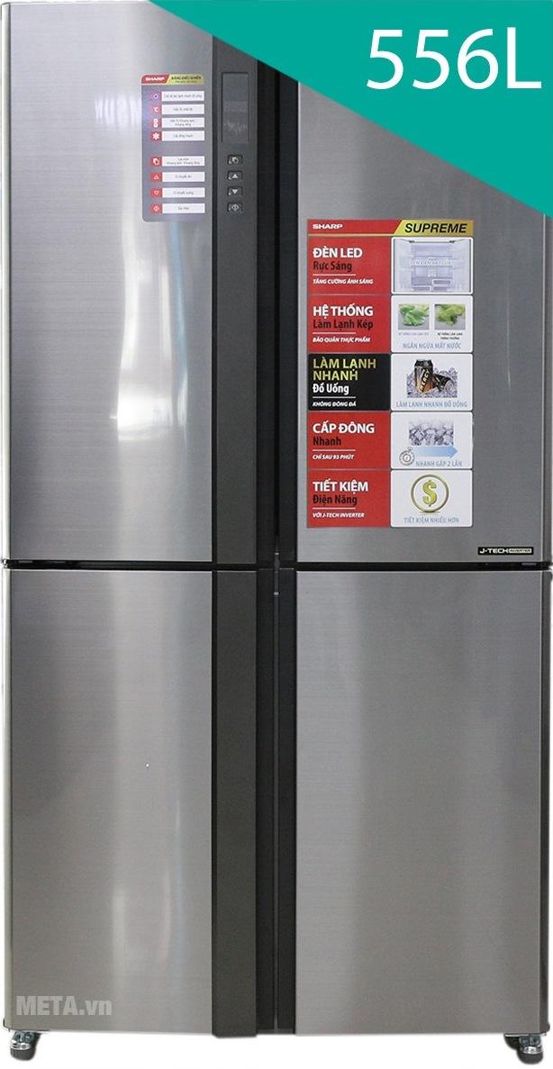 Tủ lạnh side by side 556 lít Sharp SJ-FX630V-ST thiết kế sang trọng.