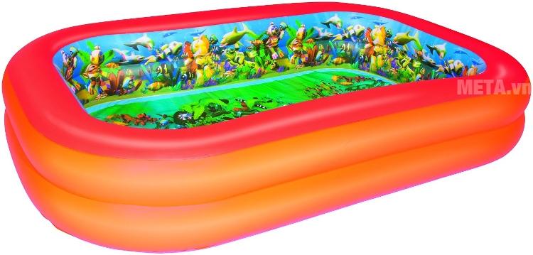 Bể phao 3D hình chữ nhật (kèm theo 2 kính bơi 3D) Bestway 54114 có kích thước bể lớn.