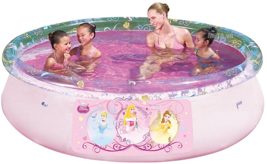Bể phao tròn hình công chúa Bestway 91052 thích hợp cho bé gái trên 3 tuổi.