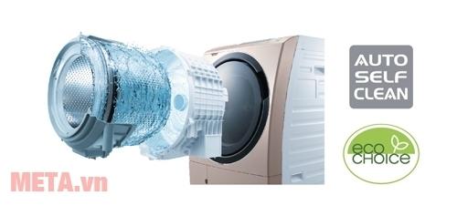 Máy giặt cửa trước 10.5kg Hitachi BD-S5500 tự động vệ sinh máy giặt.