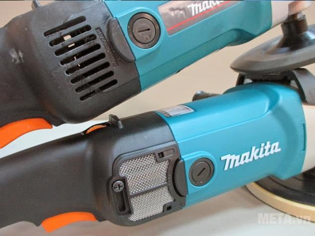 Máy chà nhám đánh bóng Makita 9237C với thiết kế đầu máy.