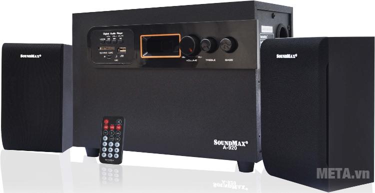 Loa SoundMax A920 2.1 có điều khiển từ xa.