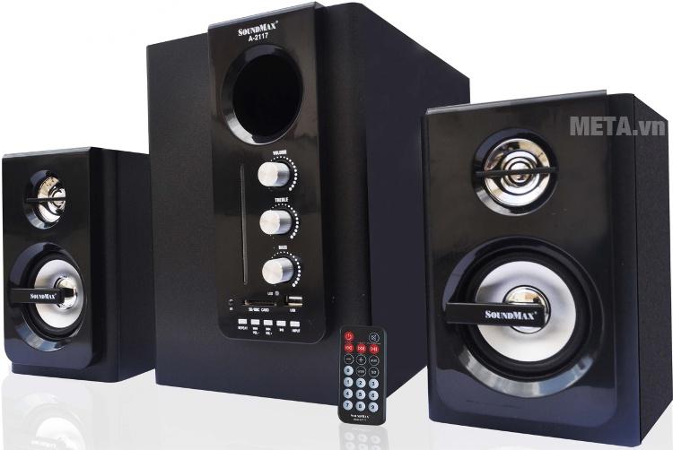 Loa vi tính SoundMax A2117 2.1 với thiết kế màu đen cá tính.
