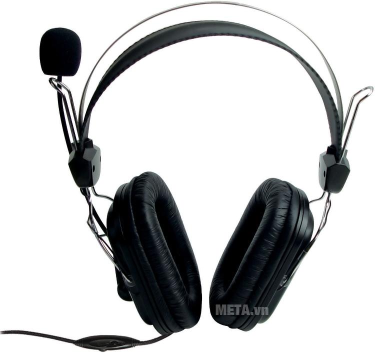Tai nghe SoundMax AH302 với thiết kế màu đen cá tính.