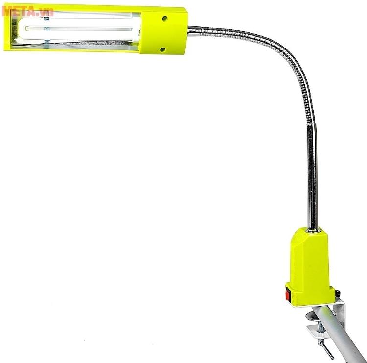 Đèn bàn biến tần kẹp bàn V-light C-FGL 13W với thiết kế màu vàng.