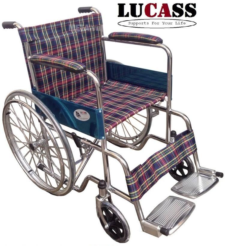 Xe lăn đơn giản vải sọc caro Lucass X-97.