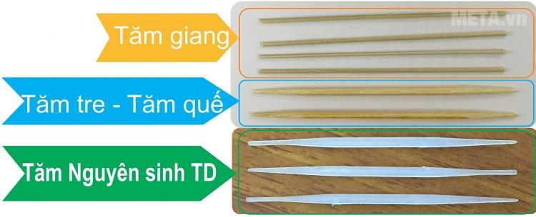 Tăm nguyên sinh TD với các loại tăm thông thường.