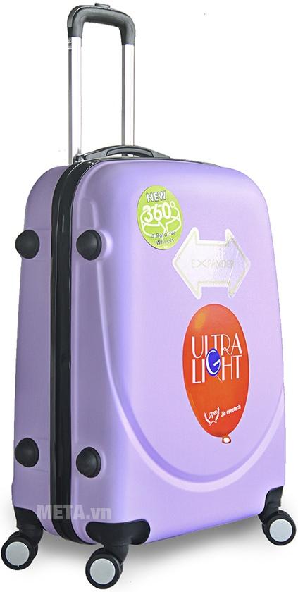 Vali nhựa ABS 360 20 inch màu tím nhạt.